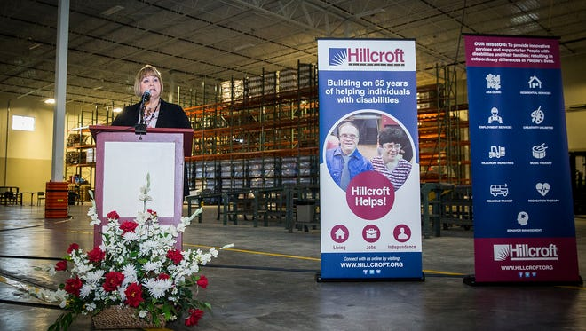 Debbie Bennett speaks during the Hillcroft Services fundraising campaign kickoff event Thursday evening.