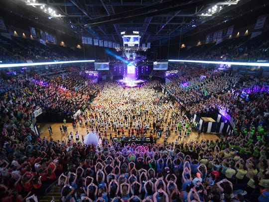 The crowd learns the current line dance during day one of Thon, Friday, Feb. 16, 2018, at the Bryce Jordan Center in State College, Pa.