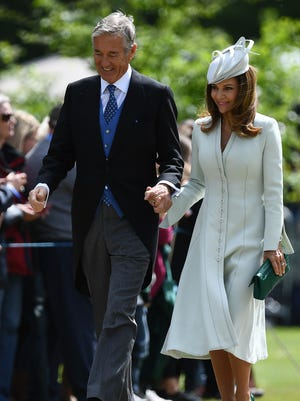David Matthews and wife Jane arrive for the May 2017 wedding of their son James to Pippa Middleton, the sister of Duchess Kate.