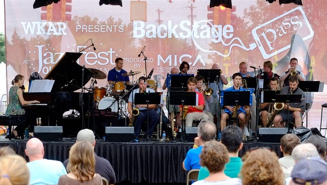 The LCC Jazz Band opens the festivities at Lansing's JazzFest Saturday, August 8, 2015 in Old Town.