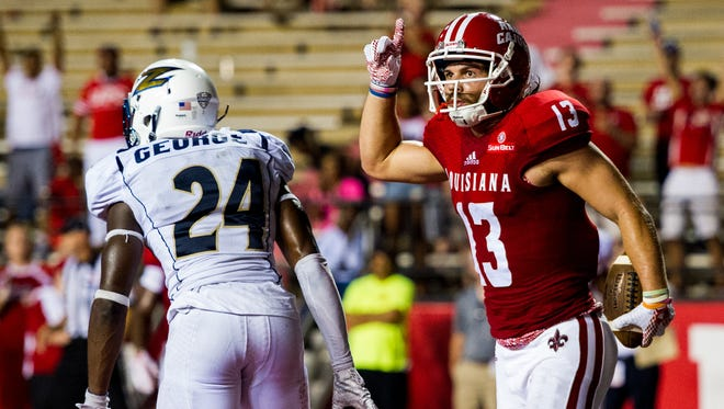 Receiver Gabe Fuselier (13) celebrates a 2015 touchdown against Akron.