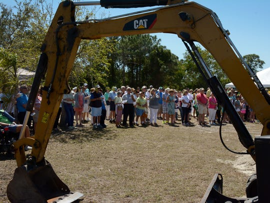 """A crowd gathers at the groundbreaking. St. John the Evangelist Catholic Church in North Naples held a """"Gaelic & Garlic"""" festival last Saturday and Sunday, and broke ground for their new Pulte Life Center."""