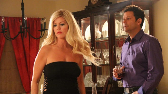 """Tracey Birdsall  (Jenna) Bill Sorvino (Jonathan) are featured in a scene from the romantic comedy """"Who's Jenna...?"""" that was filmed in Hillsborough and will be screened May 20 at House of Independents in Asbury Park."""