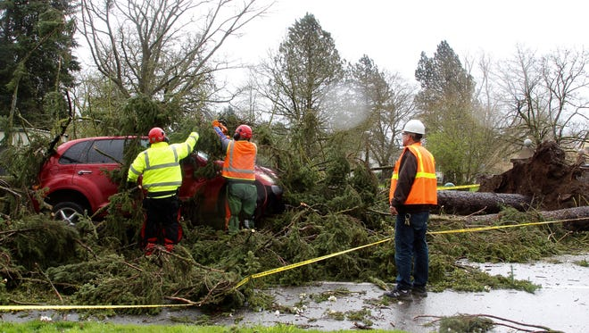 Oregon State Hospital maintenance staff help clear a 100 foot tree from 24th street and Hayden Ave NE on Friday, April 7, 2017. A PT Cruiser had attempted to drive over a branch when the tree toppled over from high winds and rotted roots.
