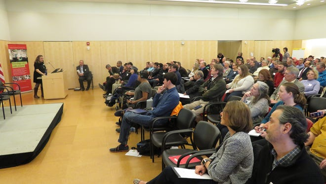 The crowd watches a presentation at the Industrial Hemp Research Forum on Wednesday at Cornell University.