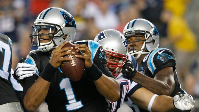 Panthers QB Cam Newton was hurt in a preseason game against the Patriots.
