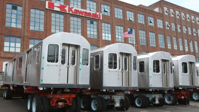 A view of train cars under construction at the Kawasaki Rail Car plant in Yonkers.