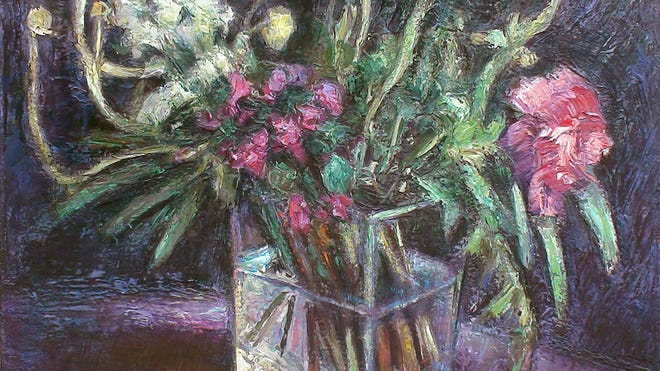 """""""Winter Flowers on Purple"""" by Andrey Tamarchenko is included in the exhibit at the Wired Gallery."""