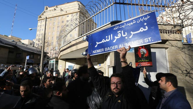 Iranians protest outside the Saudi Embassy in Tehran on Jan. 3, 2016.