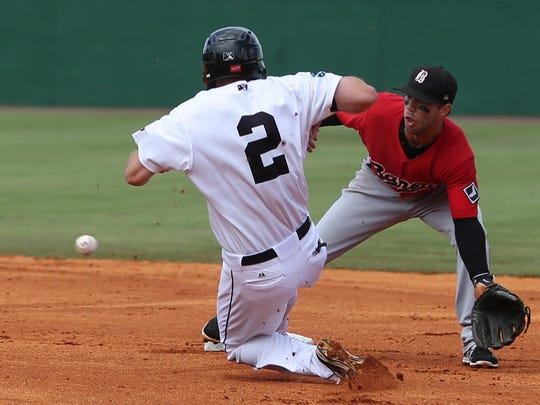 3 DAn Paolini, Jackson Generals, slides into second on a steal Sunday afternoon.