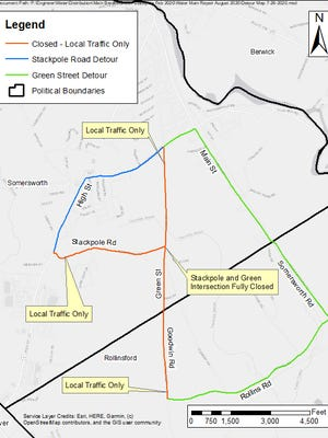 Traffic detours are planned in Somersworth during a water project Aug. 3-5.
