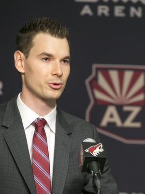 Coyotes general manager John Chayka speaks during a press conference at Gila River Arena in Glendale on Thursday, May 5, 2016.