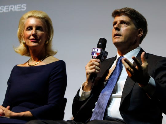 Hal Steinbrenner, right, a joint owner of the New York