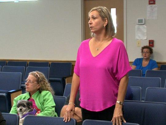 Christine Marshall speaks during the trial of Nicholas