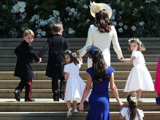 Britain's Catherine, Duchess of Cambridge, center,
