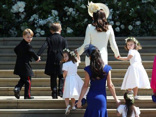 Britain's Catherine, Duchess of Cambridge, center,