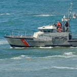 US Coast Guard boat at a rescue operation off the California coast