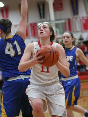 Bellevue's Payton Vogel drives to the basket Tuesday.