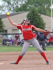 Oak Harbor's Ashley Riley pitched a 4-0 shutout of Maumee in the district final Saturday at Genoa.