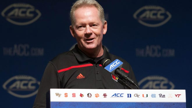 Louisville coach Bobby Petrino speaks with the media during Tuesday's ACC football kickoff.