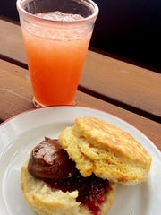"Holler & Dash Biscuit House: Strawberry Agua Fresca and ""The Jam"" biscuit with nutella and strawberry jam"