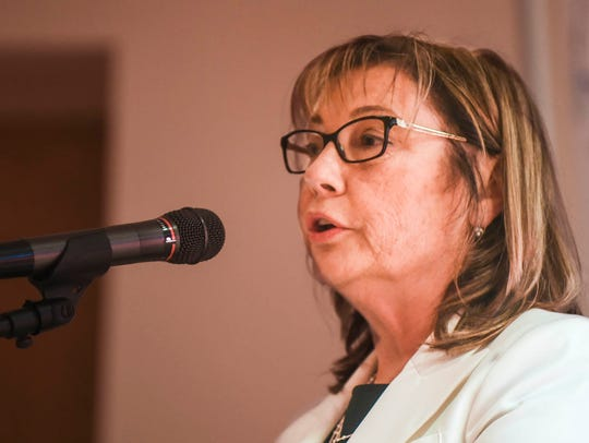 Marion Municipal Court Judge Teresa Ballinger speaks