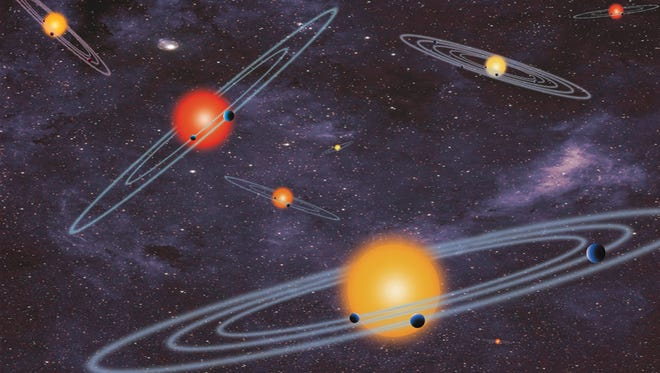 This handout artist conception provided by NASA depicts multiple-transiting planet systems, which are stars with more than one planet. The planets eclipse or transit their host star from the vantage point of the observer. (AP Photo/NASA)