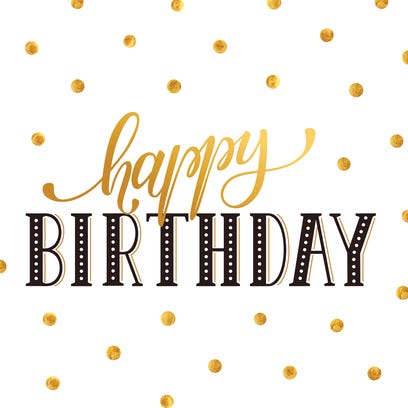Happy birthday greeting card lettering with golden