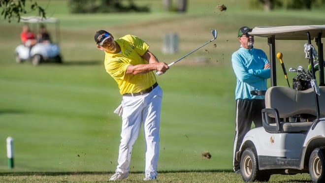 Jeff Ott drives from the fairway on No. 5 during the Peoria Senior Men's City golf tournament title match Friday, Sept. 4, 2020 at Kellogg Golf Course in Peoria.
