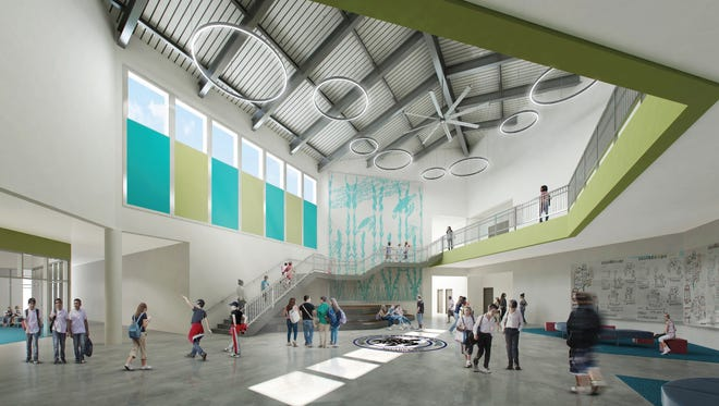 An architect rendering of the atrium in kindergarten through eighth grade school set to be built on 42 acres on Elkhart Drive in Navarre. The Santa Rosa County School District unveiled the design earlier this month and will take the plan to the state in a few weeks for a budget analysis.