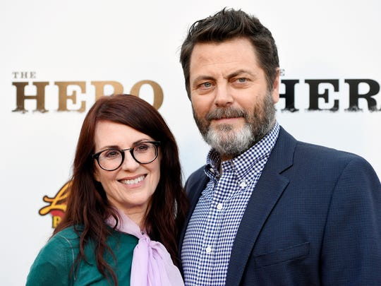 Nick Offerman, right, a cast member in 'The Hero,' poses with his wife, actress Megan Mullally, at the film's premiere at the Egyptian Theatre on  June 5, 2017, in Los Angeles.