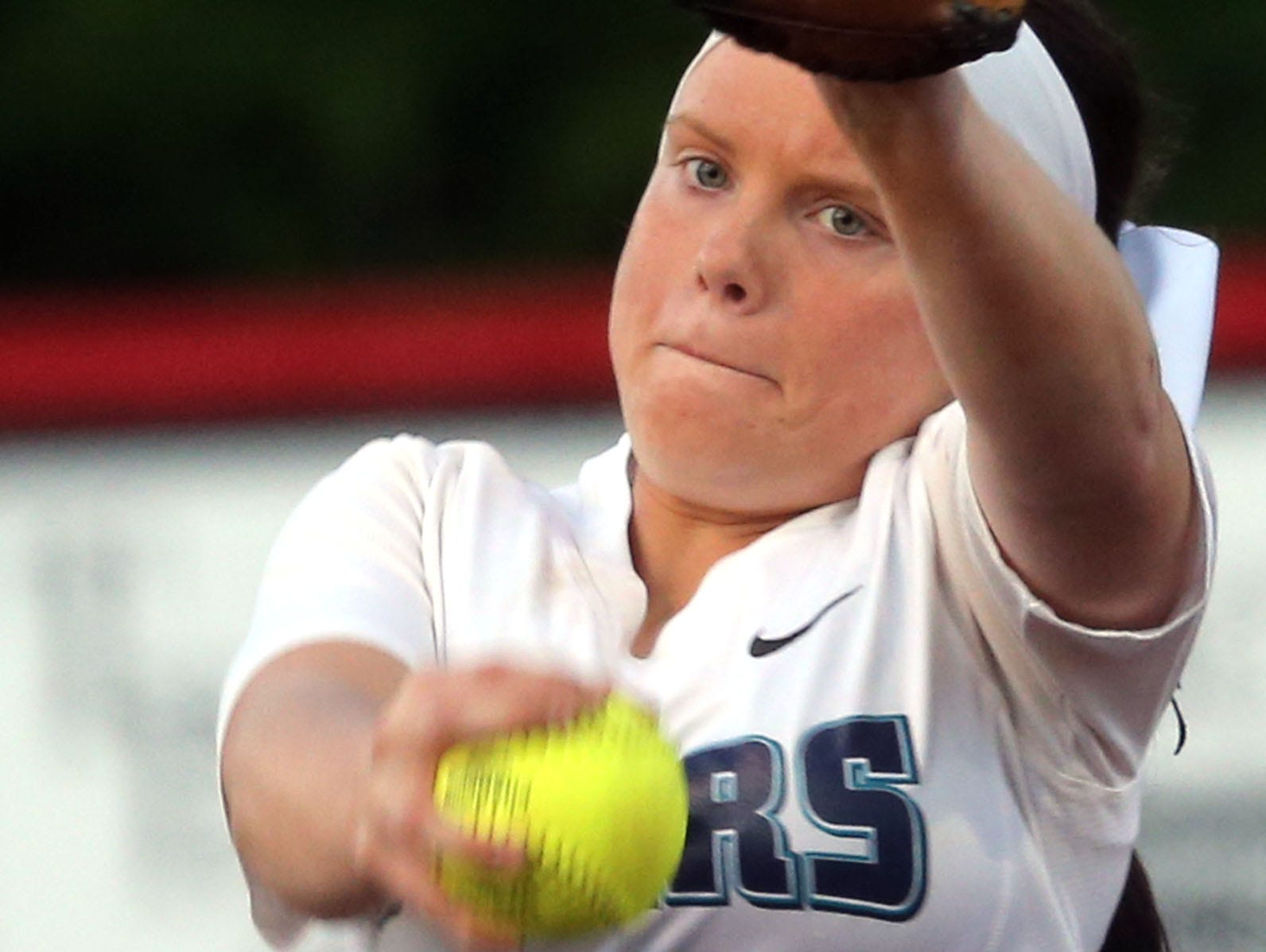 Siegel's Veronica Westfall pitches against Coffee County Wednesday at Coffee County.