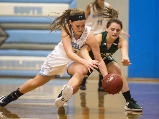 Emma MacDonough, left, is one of six seniors on the South Burlington High School girls basketball team.