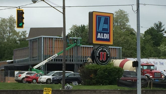 Construction is underway at the ALDI store on Maple Avenue as part of a $1.6 billion nationwide plan to remodel and expand more than 1,300 stores throughout the U.S.