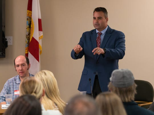 Doug Underhill speaks at a candidate forum hosted by Women for Responsible Legislation at Pensacola City Hall on March 22.