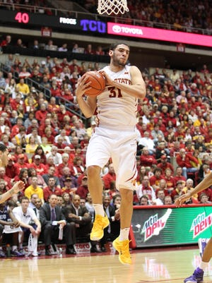 Iowa State Cyclones forward Georges Niang (31) grabs a rebound TCU Horned Frogs at James H. Hilton Coliseum. The Cyclones beat the Horned Frogs 83-66.