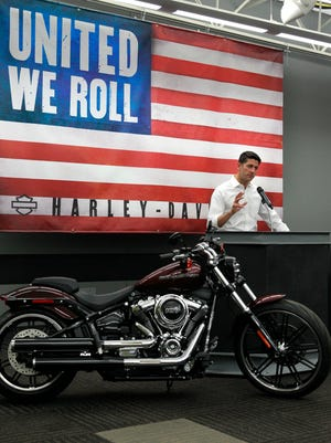 Speaker of the House Paul Ryan holds news conference after touring Harley-Davidson's  facility in Menomonee Falls on Monday, Sept. 18, 2017.  Ryan was in town to discuss issues affecting American manufacturing, including tax reform and free trade.