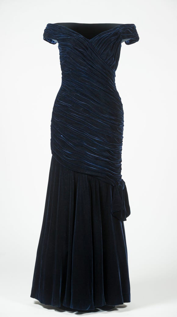 Princess Diana's blue velvet gown by Victor Edelstein