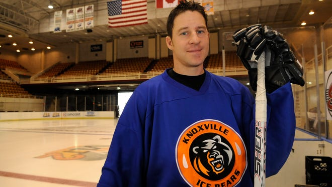 Kevin Swider, the all-time leading scorer for the Knoxville Ice Bears, poses at the rink in the Knoxville Coliseum before a practice Oct 22, 2009.