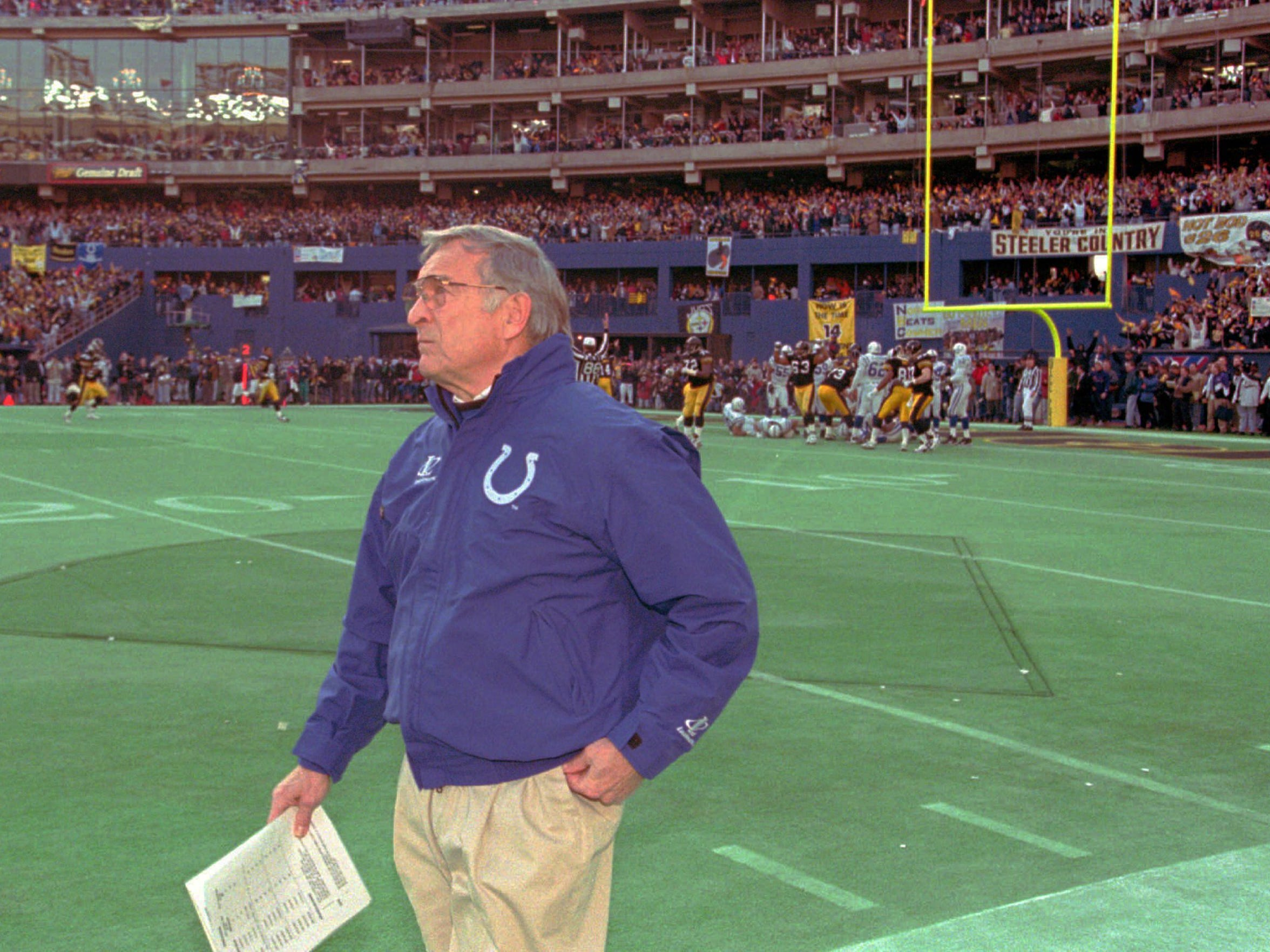 Colts coach Ted Marchibroda during the 1995 AFC Championship Game at Three Rivers Stadium in Pittsburgh.
