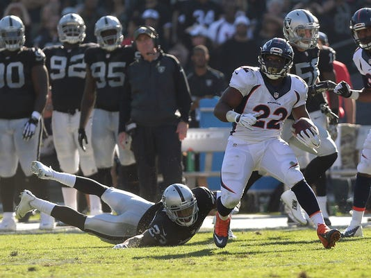 Denver Broncos running back C.J. Anderson (22) runs past Oakland Raiders cornerback Tarell Brown (23) to score on a 51-yard touchdown reception during the second quarter of an NFL football game in Oakland, Calif., Sunday, Nov. 9, 2014. (AP Photo/Marcio Jose Sanchez)