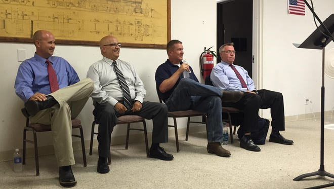 The candidates for Christian County sheriff, from left to right, Brad Cole, Ken Lovell, Keith Mills and Ralph Phillips.