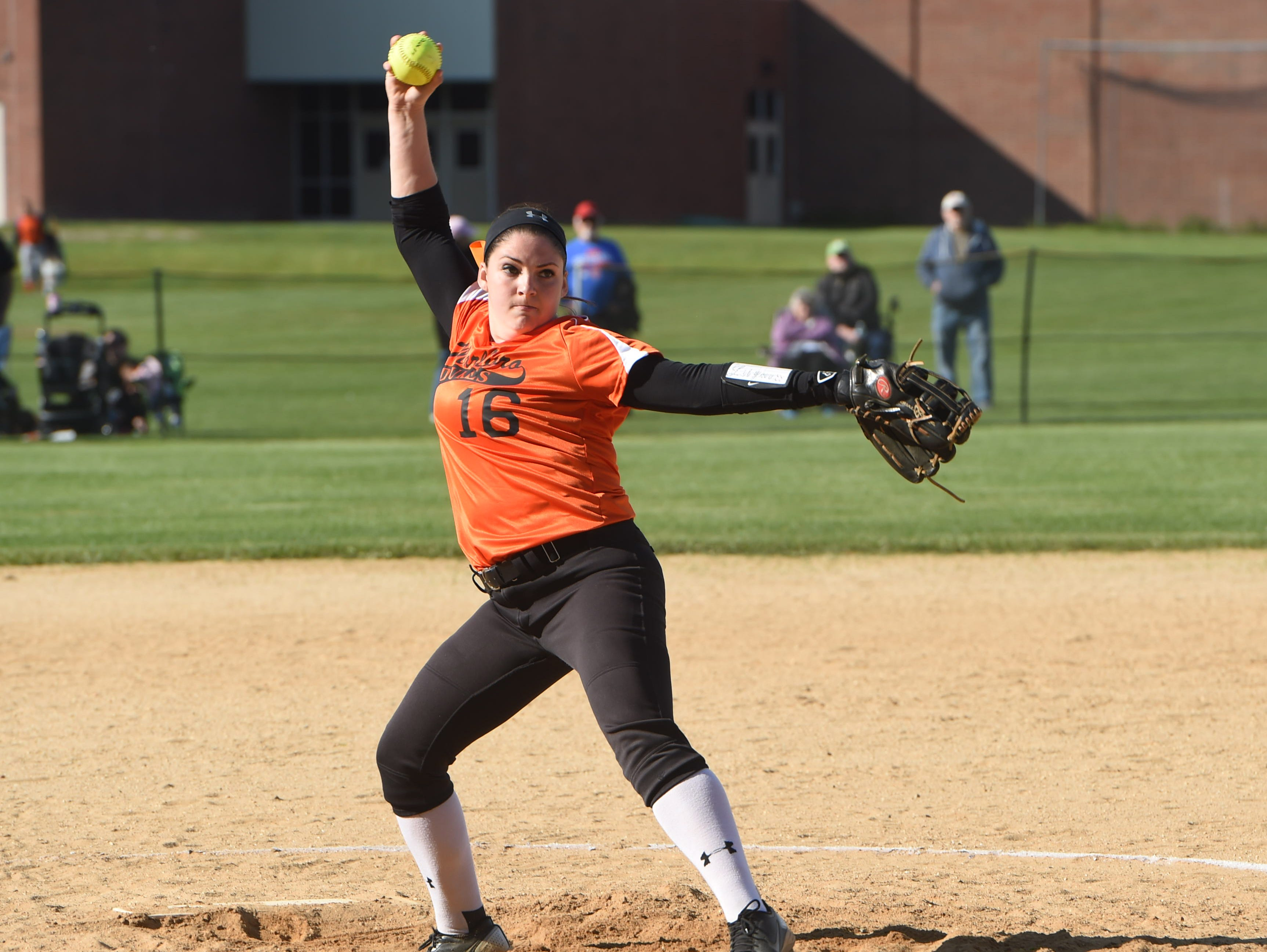 Marlboro's Lily Moresco winds up for a pitch during Monday's game against New Paltz.