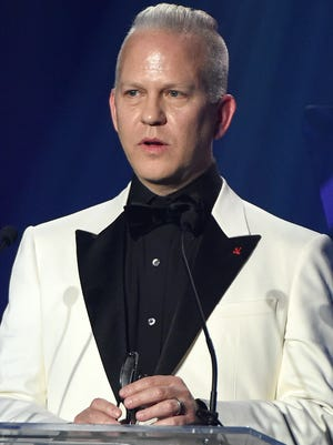 Honoree Ryan Murphy accepts the Award of Inspiration onstage during amfAR's Inspiration Gala Los Angeles.