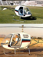 Aviation enthusiast Doug Hillman is seen below in at Falcon Field in his Hillman Hornet two-set helicopter. A Turbo Hornet is seen in the top photograph. Development the Hillman helicopters came to a halt in 1983 when Hillman and his son were killed in a hit-and-run accident in Gilbert.