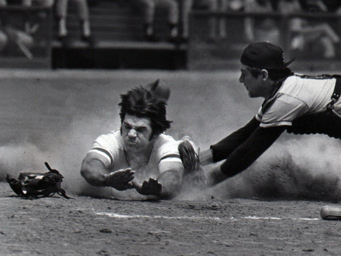 Aug. 15, 1984: Using the head-first slide he made famous
