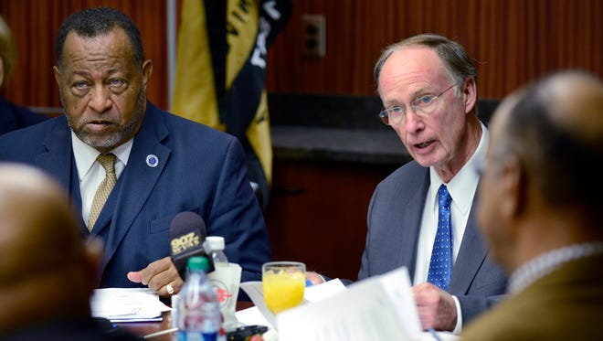 Alabama Gov. Robert Bentley, right, wants to use an increase in state revenue to increase teacher salaries. State Republican lawmakers are challenging him.