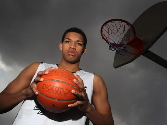 Karl Towns poses for a portrait after the 2013 scholastic season at St. Joseph High School in Metuchen.