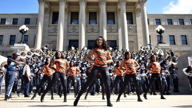 The Jackson State University Band and J-Settes dance team.