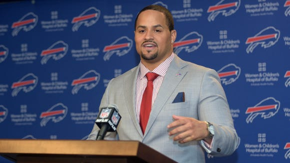 Buffalo Bills fullback Jerome Felton speaks Wednesday at a news conference in Orchard Park.